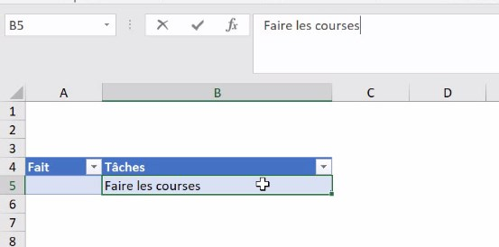 Excel formation - video crer une check list dynamique todo courses fournitures scolaires vacances mariage