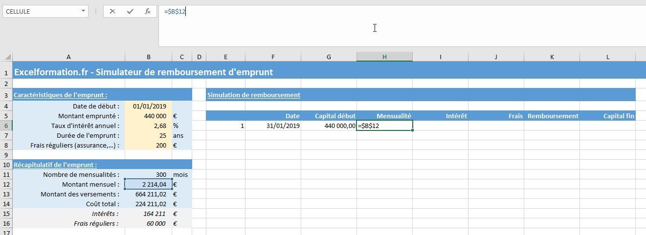 Comment Creer Un Simulateur D Amortissement D Emprunt Bancaire Sur Excel Excel Formation