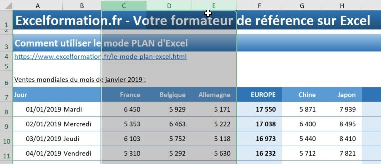 Excel formation - 023 Le mode plan - 02