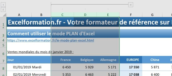 Excel formation - 023 Le mode plan - 04