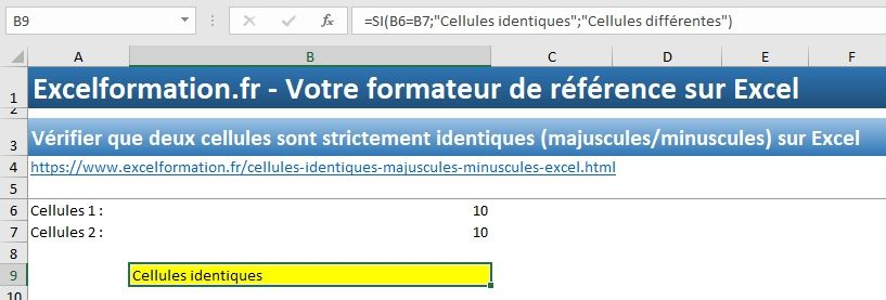 Excel formation - Cellules identiques - 03