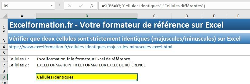 Excel formation - Cellules identiques - 05