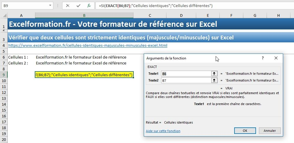 Excel formation - Cellules identiques - 06