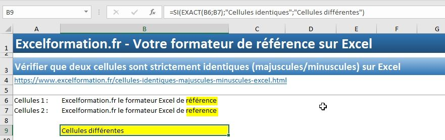 Excel formation - Cellules identiques - 07