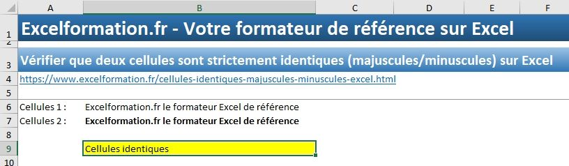 Excel formation - Cellules identiques - 09