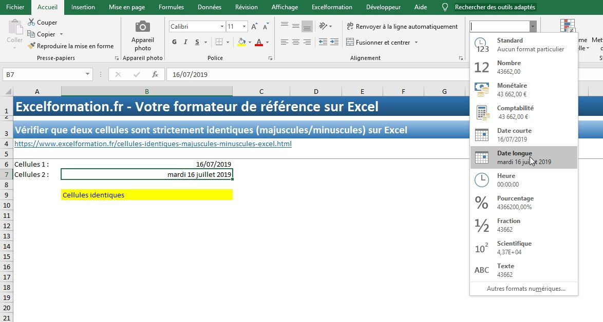 Excel formation - Cellules identiques - 10