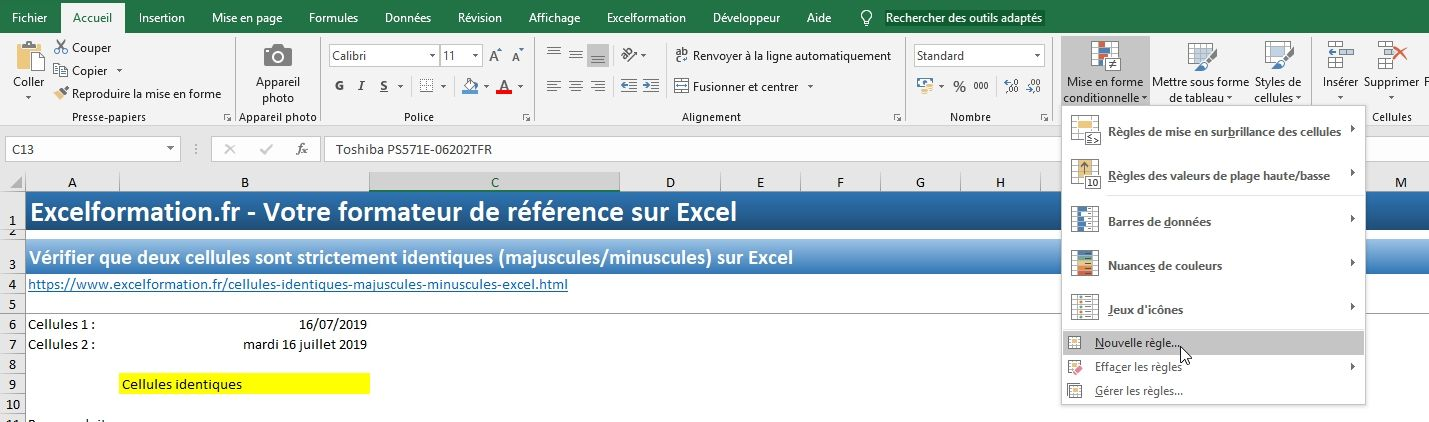 Excel formation - Cellules identiques - 13