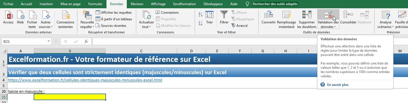 Excel formation - Cellules identiques - 18