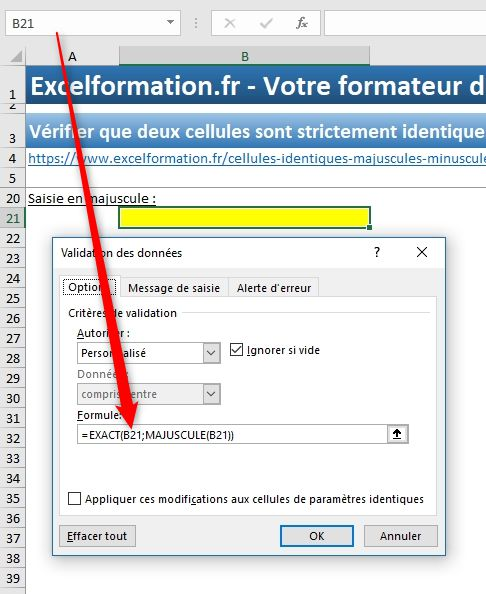 Excel formation - Cellules identiques - 20