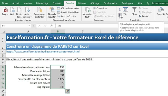 Excel formation - diagramme de PARETO - 06