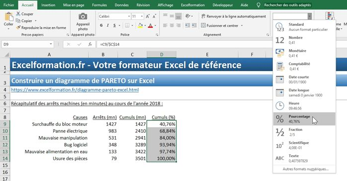 Excel formation - diagramme de PARETO - 16