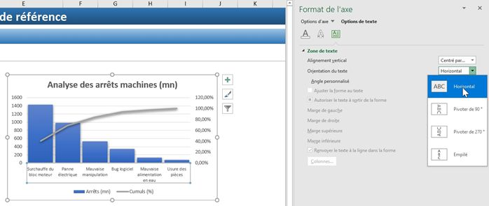 Excel formation - diagramme de PARETO - 24