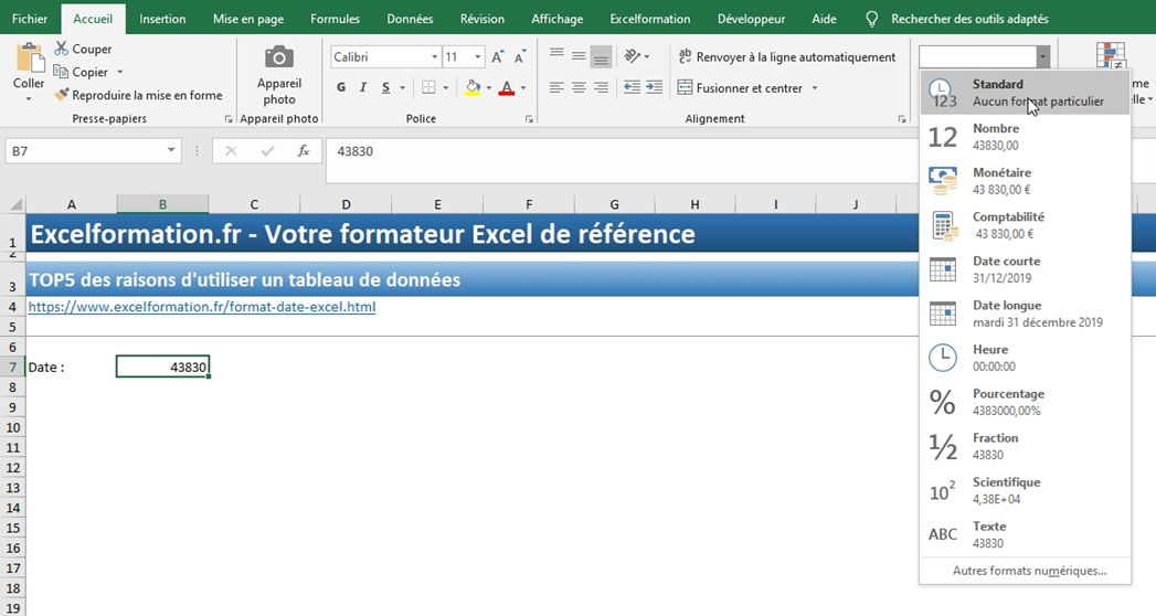 Excel formation - Dates04 Changer format date - 02