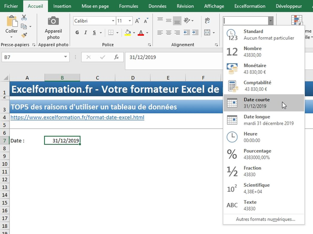 Excel formation - Dates04 Changer format date - 03