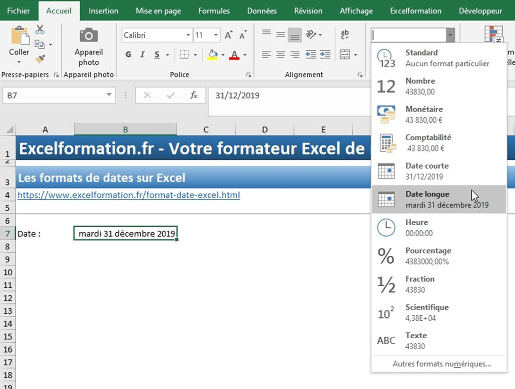 Excel formation - Dates04 Changer format date - 04