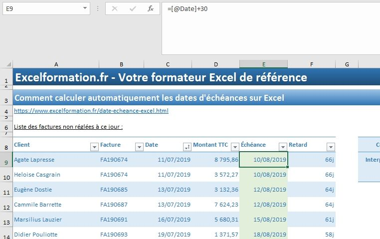 Excel formation - 035 Calcul date échéance - 03