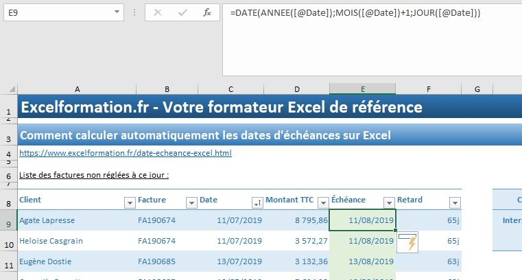 Excel formation - 035 Calcul date échéance - 04