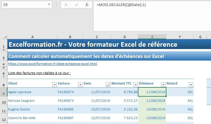 Excel formation - 035 Calcul date échéance - 05
