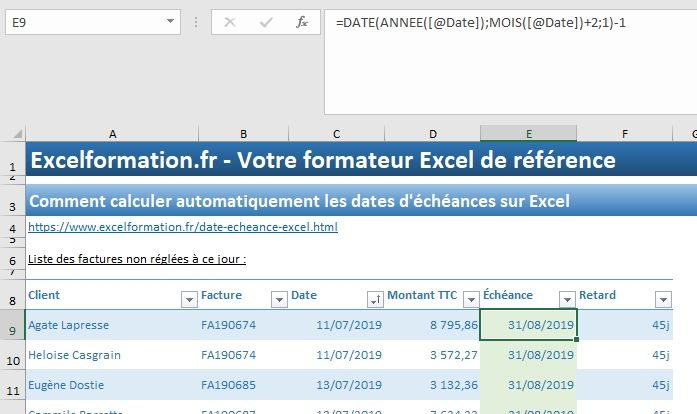 Excel formation - 035 Calcul date échéance - 06