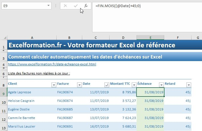 Excel formation - 035 Calcul date échéance - 08