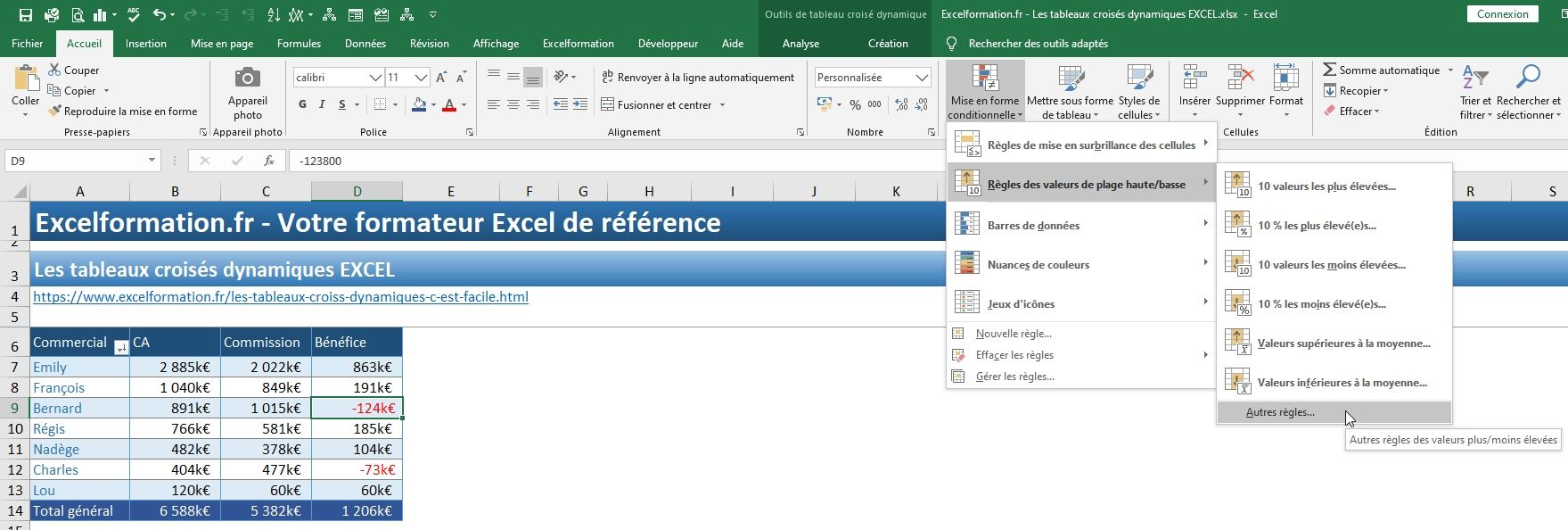Excel formation - TCD17 - mise en forme conditionnelle - 03