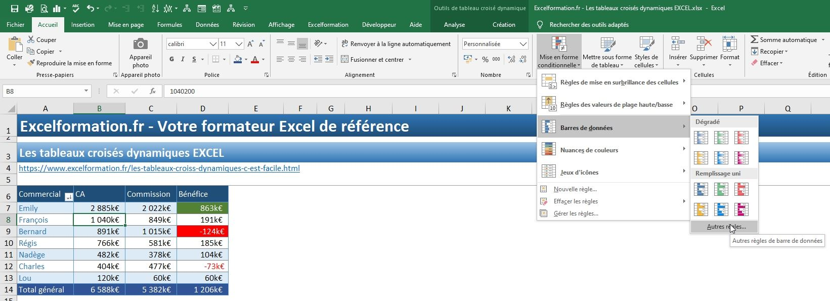 Excel formation - TCD17 - mise en forme conditionnelle - 11