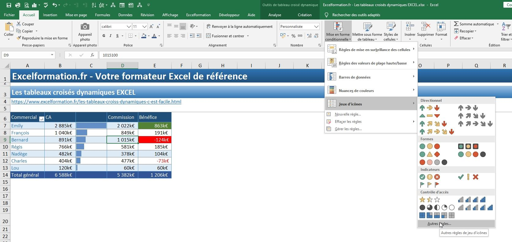Excel formation - TCD17 - mise en forme conditionnelle - 17