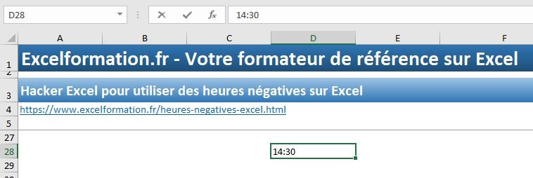 Excel formation - heures négatives - 01