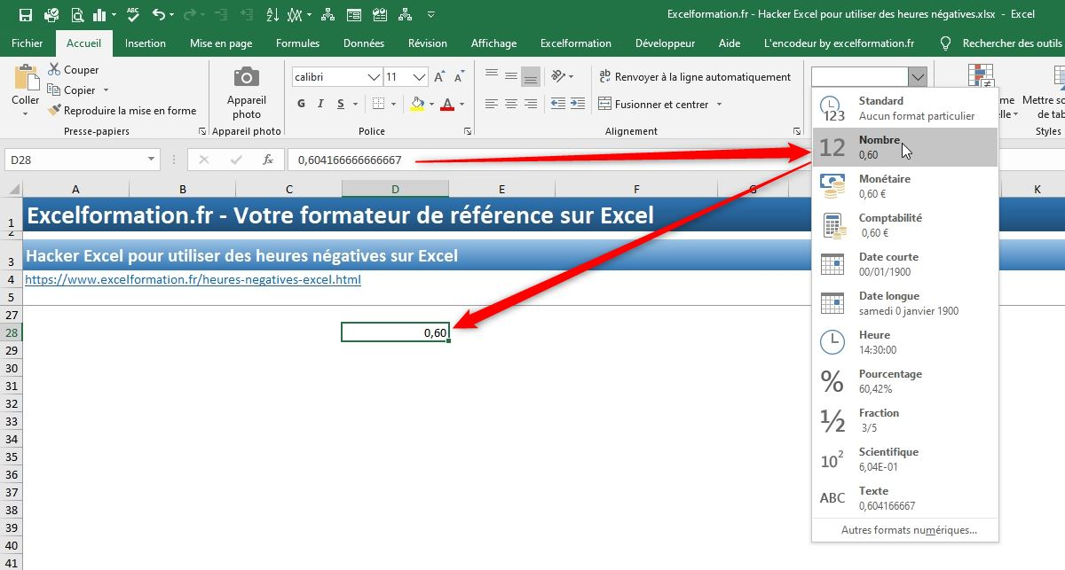 Excel formation - heures négatives - 02
