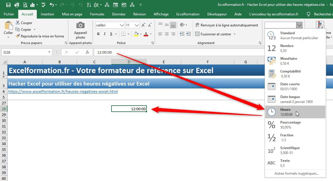 Excel formation - heures négatives - 03