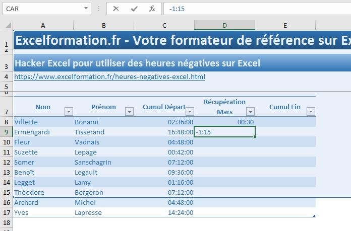 Excel formation - heures négatives - 05