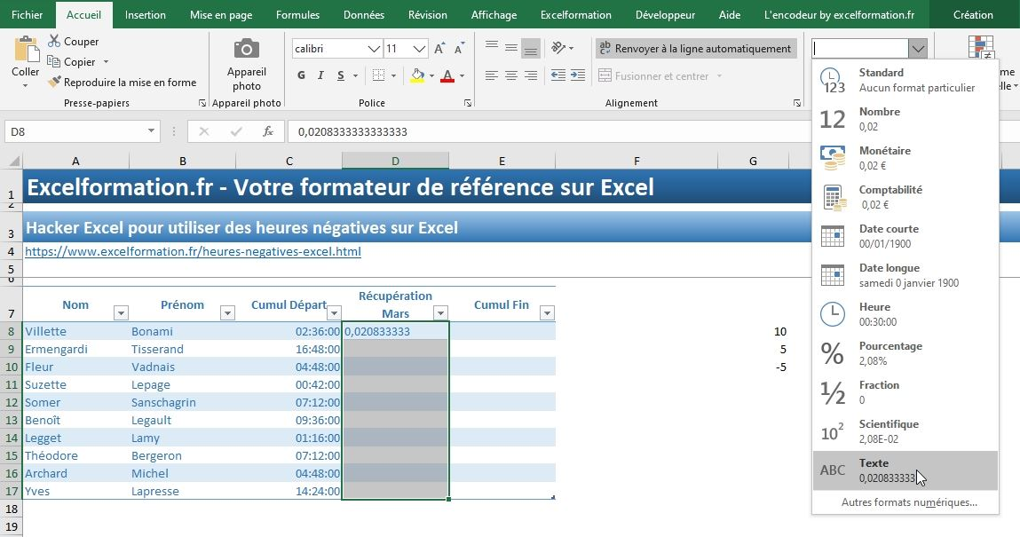 Excel formation - heures négatives - 06