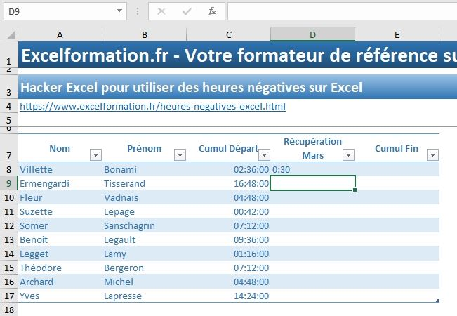 Excel formation - heures négatives - 07
