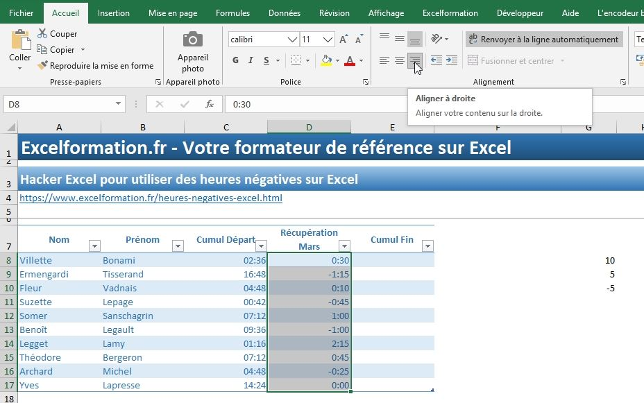 Excel formation - heures négatives - 09