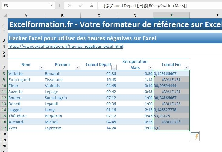 Excel formation - heures négatives - 10