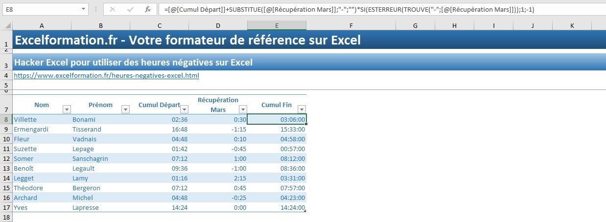 Excel formation - heures négatives - 14