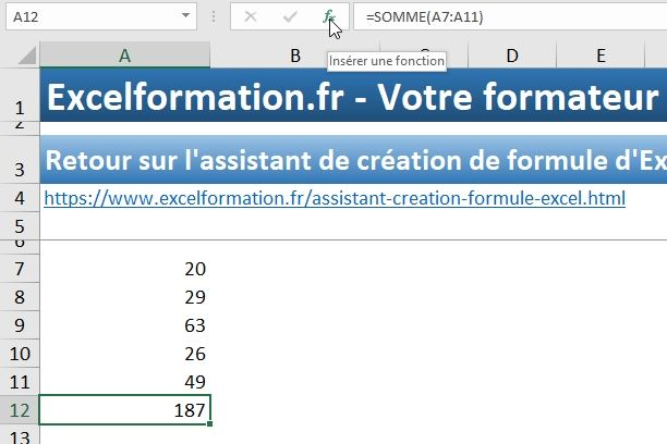 Excel formation - assistant création formules - 09