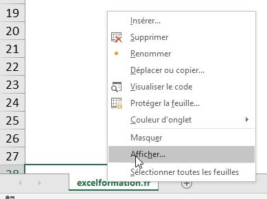 Excel formation - cacher feuille de calcul - 04