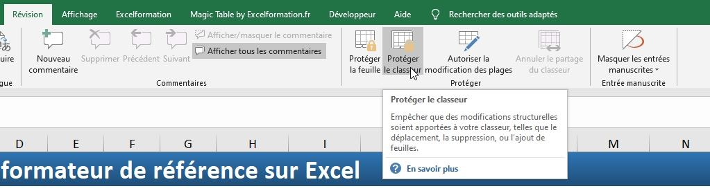 Excel formation - cacher feuille de calcul - 06