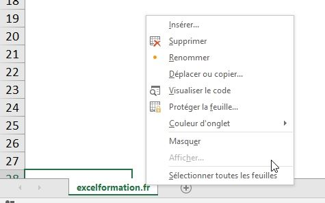 Excel formation - cacher feuille de calcul - 15