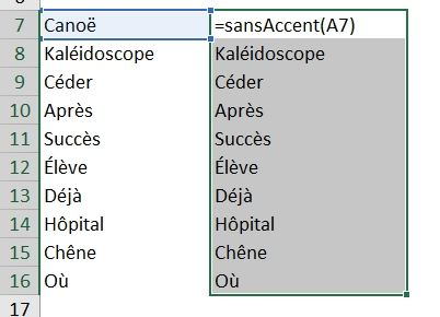 Excel formation - Supprimer les accents - 03