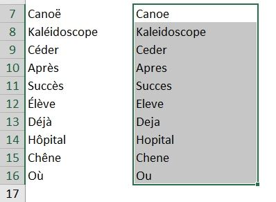 Excel formation - Supprimer les accents - 06