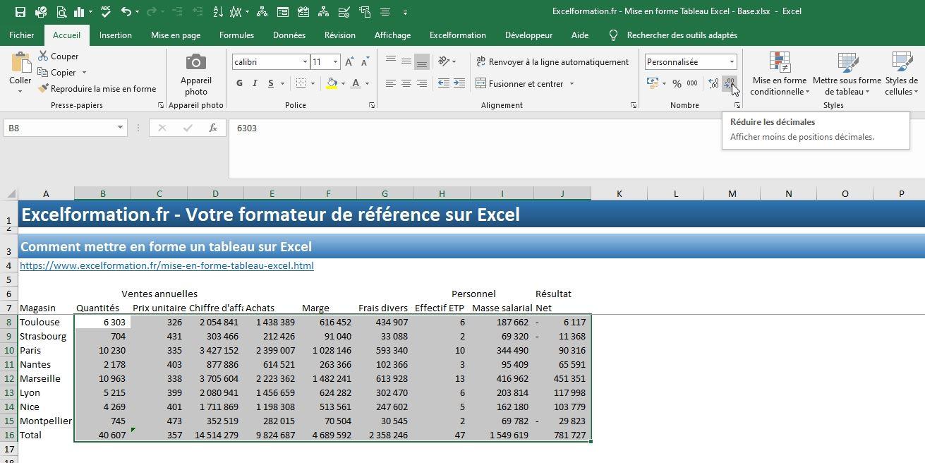 Comment Mettre En Forme Un Tableau Excel Excel Formation
