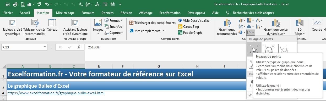 Excel formation - graphique bulle - 03