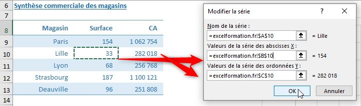 Excel formation - graphique bulle - 10
