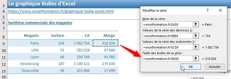 Excel formation - graphique bulle - 20