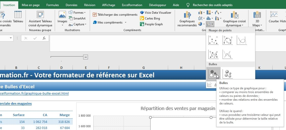Excel formation - graphique bulle - 31